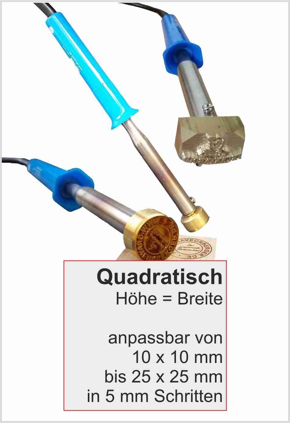 Brennstempel elektrisch quadratisch | max 25 mm | 100 Watt