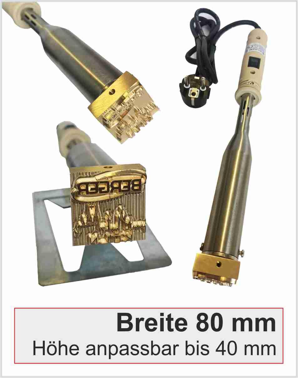 Brennstempel elektrisch | Breite 80mm | 300 Watt | H20