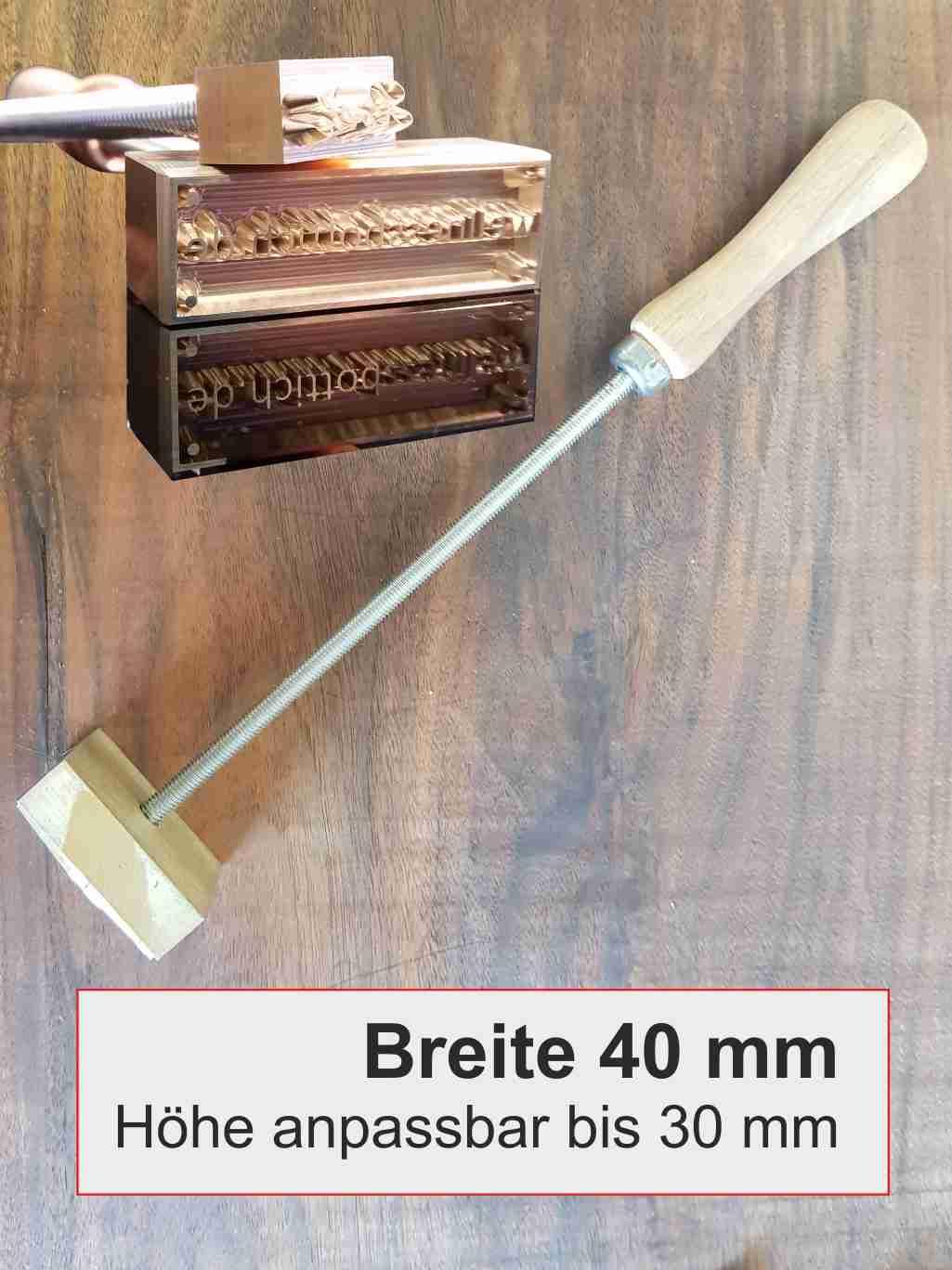 Brandstempel manuell | Breite 40 mm | Höhe anpassbar | 10 mm