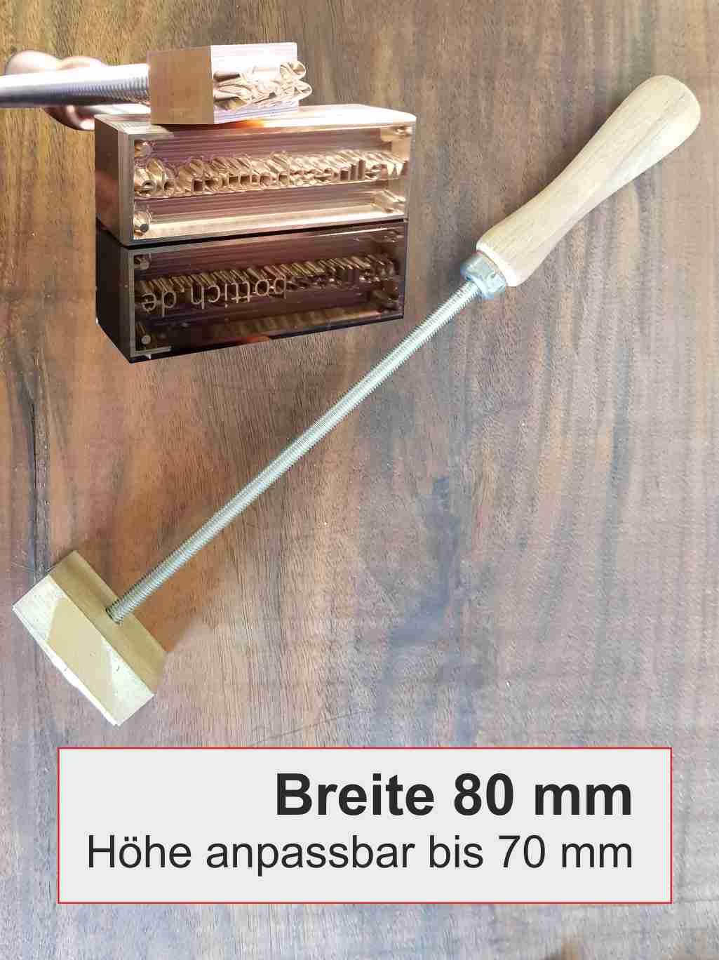 Brandstempel manuell | Breite 80 mm