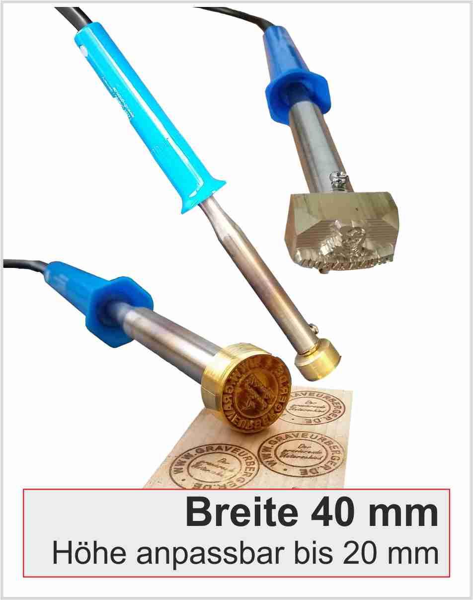 Brennstempel elektrisch | Breite 40mm | 100 Watt