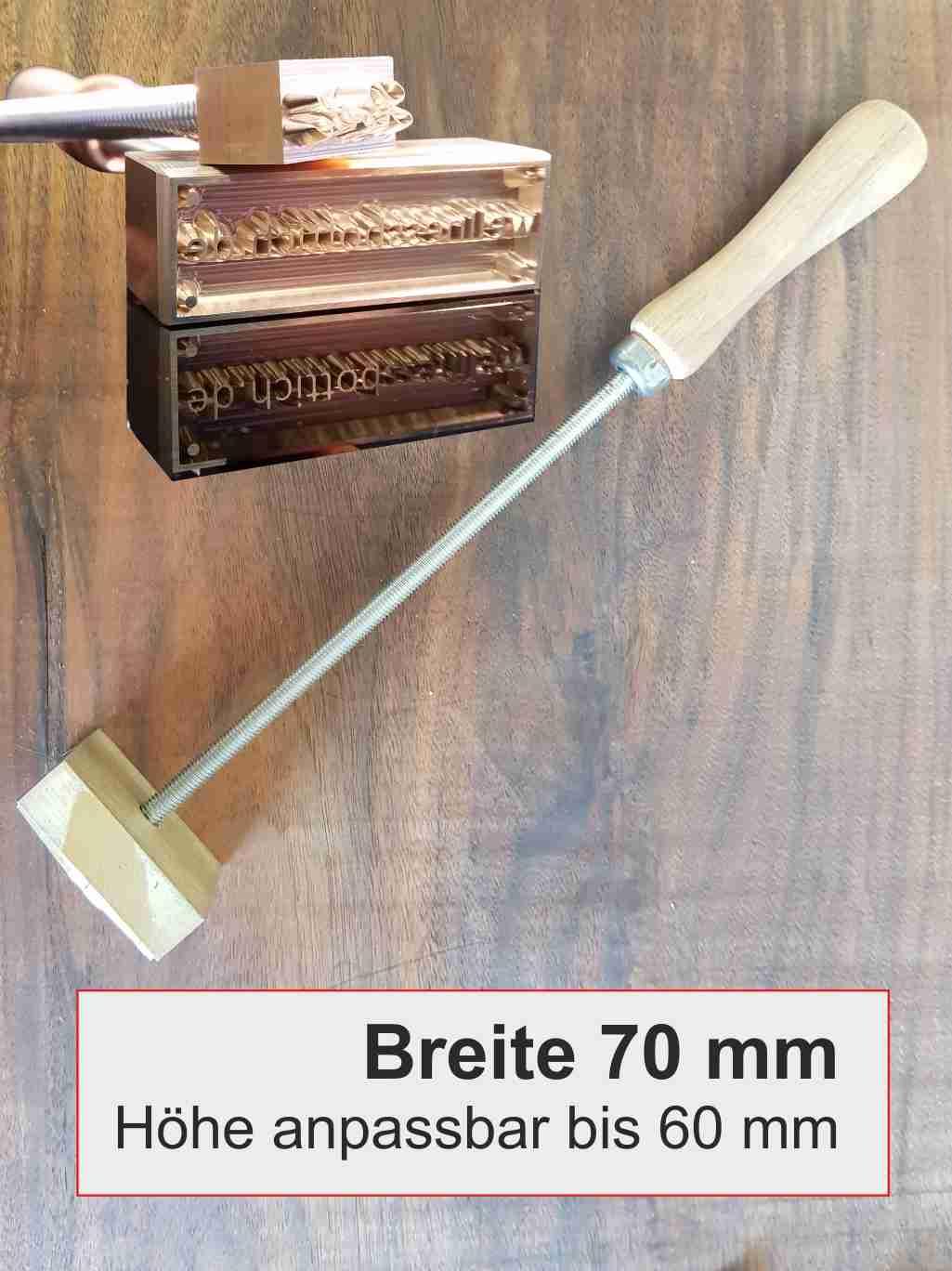Brandstempel manuell | Breite 70 mm
